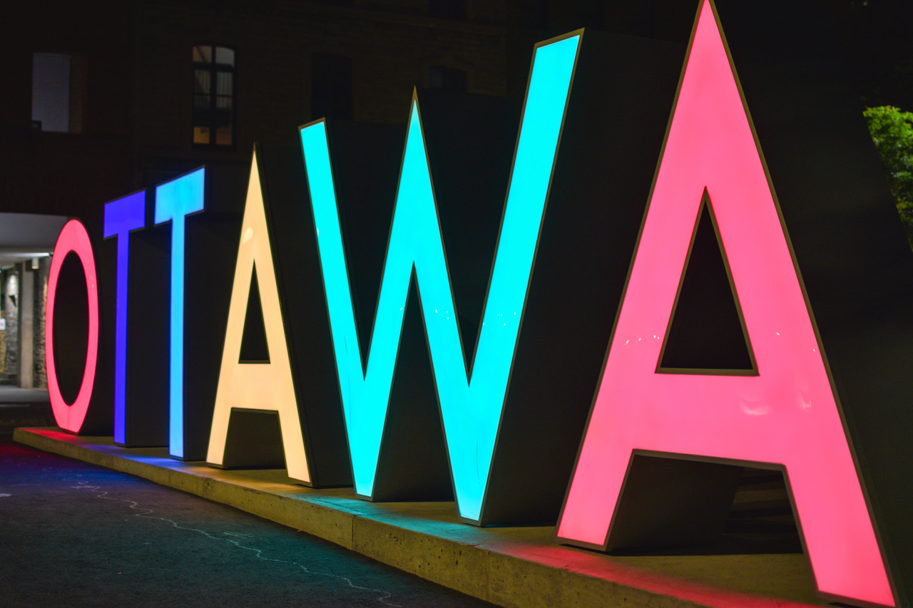 Ottawa city sign in downtown district